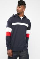 Only & Sons - Zip neck colour-block hoodie