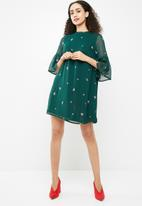 New Look - Embroidered lace trim flare sleeve dress