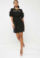 New Look - Embroidered shadow stripe ruffle sleeve dress