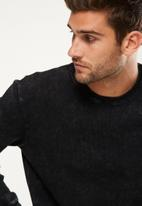 Cotton On - Waffle long sleeve tee - black