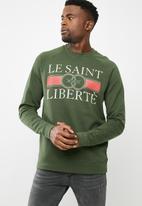 basicthread - Printed pullover crew neck sweat - green