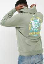 basicthread - Printed pullover hoodie - green