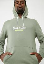 basicthread - Printed pullover hoodie - green