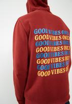 basicthread - Printed pullover hoodie - red
