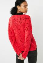dailyfriday - Pointelle fluffy knit - red