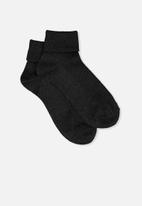 Cotton On - Glinda rib sparkle socks - black