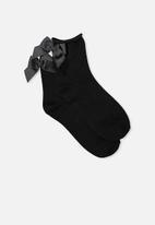 Cotton On - Back bow socks - black