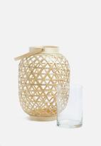 Present Time - Medium lattice lantern - natural bamboo