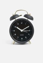 Present Time - Classic bell alarm clock - black