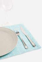 Grey Gardens - Square aqua placemat set of 2