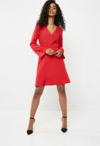 dailyfriday - Bell sleeve skater dress - red