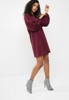 dailyfriday - Sweat dress with drop shoulder - burgundy