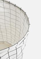 Sixth Floor - Grid basket leather handle - white