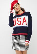 Missguided - Crew neck USA slogan knitted jumper - navy & red