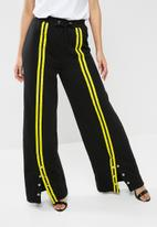 Missguided - Jersey popper front stripe trousers - black & yellow