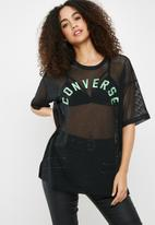 Converse - Embroidered mesh boxy tee - black