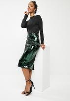 dailyfriday - High waisted sequin skirt - green