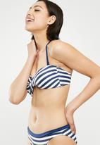 DORINA - Ambrosia soft bandeau bikini top - navy & white