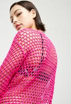Missguided - Open stitch crochet knitted jumper - pink