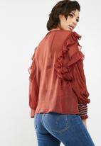 New Look - Bruno big sleeve plain shoulder top - red