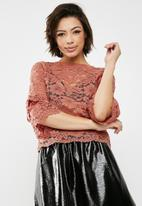 New Look - Corded lace double tier sleeve top - pink