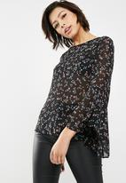New Look - Sonia floral frill long sleeve top - black