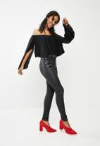 Missguided - Bardot flare sleeve top - black
