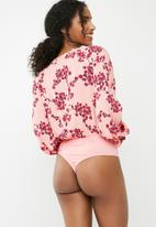 Missguided - Pink floral tie front bodysuit - pink