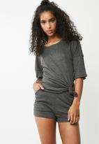 Missguided - Ribbed short tie front lounge set - charcoal
