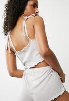 Missguided - Ribbed tie shoulder cropped pyjama set - grey