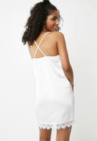 Missguided - Lace insert cami night dress - white