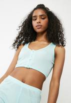 Missguided - Ribbed cropped pyjama set - green