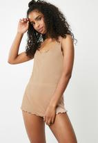 Missguided - Popper front ribbed teddy - nude