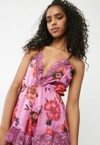 Missguided - Floral satin lace teddy - purple