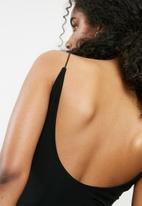 Missguided - Slinky scoop neck bodysuit - black