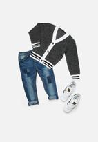 basicthread - Kids boys tipped cardigan - grey