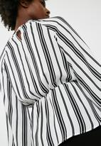 dailyfriday - Tie front stripe blouse - white & black