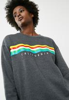 dailyfriday - Long sleeve printed sweat top - charcoal