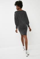 dailyfriday - Short boat neck dress - black & silver