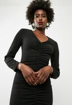 dailyfriday - Structured long sleeve bodycon - black