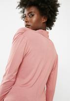 Vero Moda - Glee waterfall longsleeve top - pink