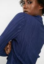 Vero Moda - Plissé high neck long sleeve top - blue