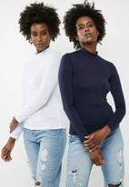 dailyfriday - Turtleneck tops 2 pack - navy & white