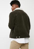 Cotton On - Borg denim corduroy jacket - brown