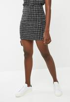 dailyfriday - Check boucle A-line mini skirt - black & white