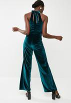 dailyfriday - Velvet wide leg jumpsuit - teal