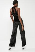 dailyfriday - Velvet wide leg jumpsuit - black