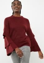 ONLY - Flower ruffle pullover knit - maroon