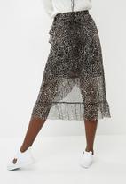 Pieces - Lulu mesh midi skirt - black & brown