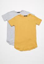 basicthread - Longline tees 2 pack - yellow & grey
